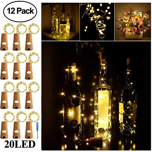 Adecorty Wine Bottle Lights with Cork - Silver Wire Cork Lights for Bottle 12 Pack 6.5ft 20 LED Bottle Lights Battery Powered Christmas String Lights for Party Halloween Wedding Christmas (Warm White)]()