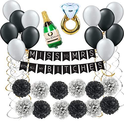 Todyt Bachelorette Party Decorations Kit (47 Pcs Set) Bridal Shower Supplies/ Hen Party Wedding Decorations/ Classy Party Favor Set