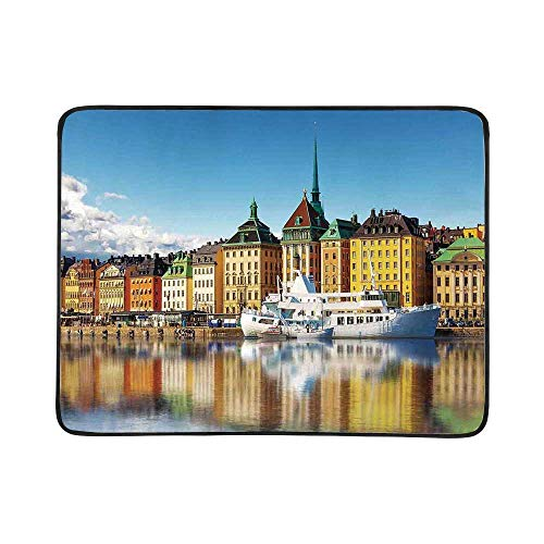 YOLIYANA Wanderlust Decor Utility Beach Mat,Summer Panorama of The Gamla Stan in Stockholm Sweden Yacht Ship by The Port Ocean for Home,One Size