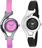 Swadesi Stuff Exclusive Premium Quality Black & Pink Color Watch Combo of 2 Watches for Girls & Women
