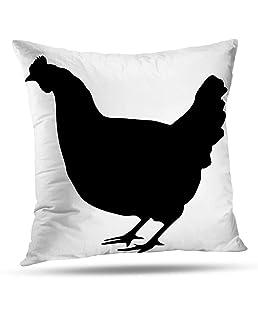 KJONG Square Decorative Pillow Case, 20 x 20 Inch Pillow Cover Black Silhouette Chicken White Black Silhouette Chicken for Sofa Bedroom Living Room 2 Sides Print