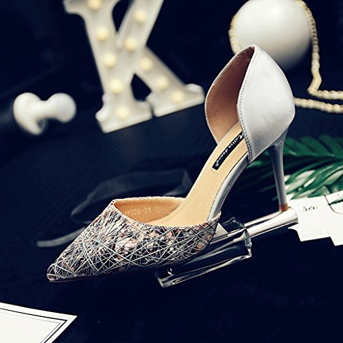 Satin Pointed Dream Size Braided Shoes 38 High Foot Gray Sandals Heels Sexy Fashion Color Bare SqRqd