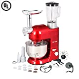CHEFTRONIC 3 In 1 Upgraded Stand Mixer, 650W Kitchen Mixer SM-1086 with 5.3QT Bowl, Grinder, Blender, Pasta Dies, Sausage Maker for Mother's Day, Xmas, Wedding, Thanksgiving, Birthday Gift