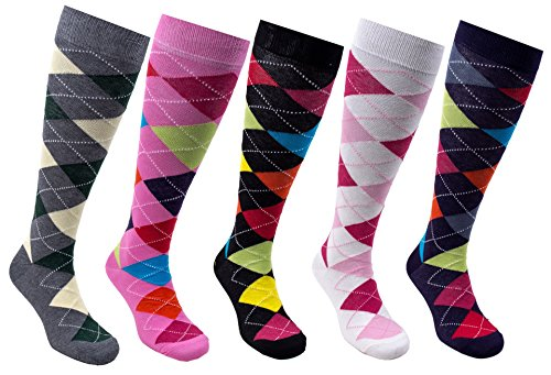 Socks n Socks - Women's 5-pair Argyle Design Turkish Cotton Knee high Socks