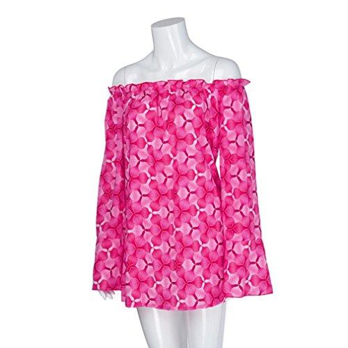 Blouse Femmes imprim paule Manches lache Slash Pink YUYOUG Chemises Longues Off Grande Dcontracte Tops Neck Hot Pull Bell Taille dRwOWqBX