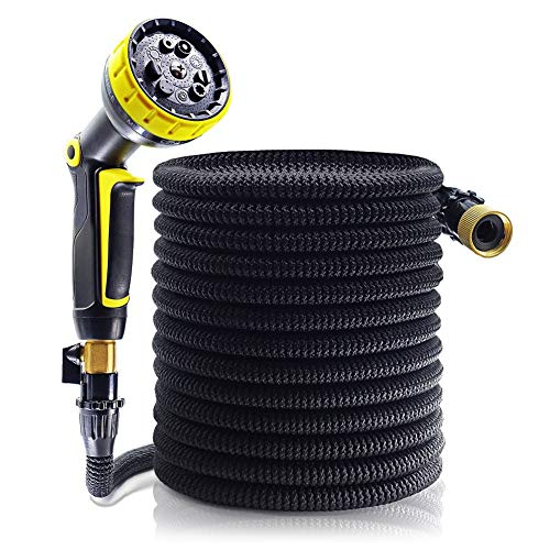 Garden Hose 50ft, Upgrade Expandable Hose Garden, Flexible Hose Lightweight, Sturdy Leakproof Watering Hose with 9 Pattern Sprayer Nozzle for Plant and Garden Watering(Black)