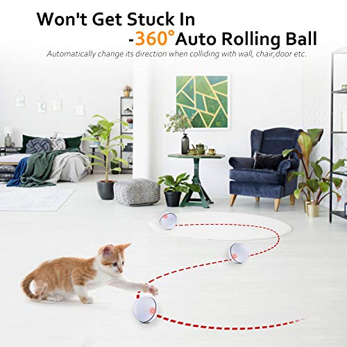 Interactive Cat Toys Ball, Self Rotating Cat Toy, Newest Version USB Rechargeable Pet Toy,Buit-in Spinning LED Light, Stimulate Hunting Instinct for Your Cat/Kitty/Kitten/Pets (White) 5