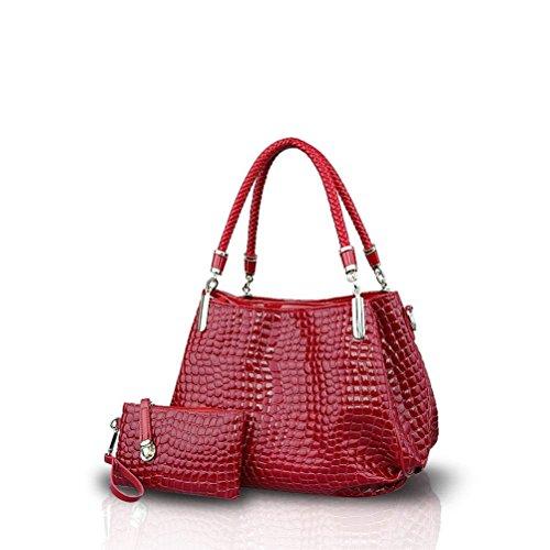 lucida Portafoglio Moda 2 scuro messenger borse Rosso Honeymall viola donna Borsa borse coccodrillo a mano di Set qwnA4IBOn