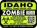 "ProSticker 1222 (TWO pack) 3""x 4"" Zombie Series ""Idaho"" Hunting License Permit Decal Sticker"