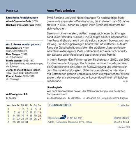 Literatur Kalender 2019 Autoren Werke Buchtipps