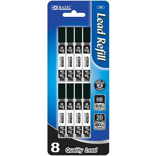 BAZIC 20 Ct. 0.5mm Mechanical Pencil Lead (8/Pack), Case Pack of 288 by Bazic
