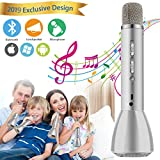 Microphone for Kids, Wireless Kids Karaoke Microphone Bluetooth Child Echo Portable Karaoke Mic Machine with Speaker for Boys Girls Adult Party Music Singing Playing Gift Android IOS Phone (Silver)