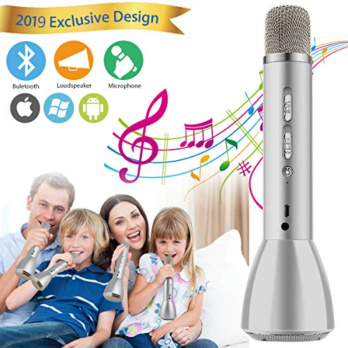 Microphone for Kids, Wireless Kids Karaoke Microphone Bluetooth Child Echo Portable Karaoke Mic Machine with Speaker for Boys Girls Adult Party Music Singing Playing Gift Android IOS Phone (Silver) ()