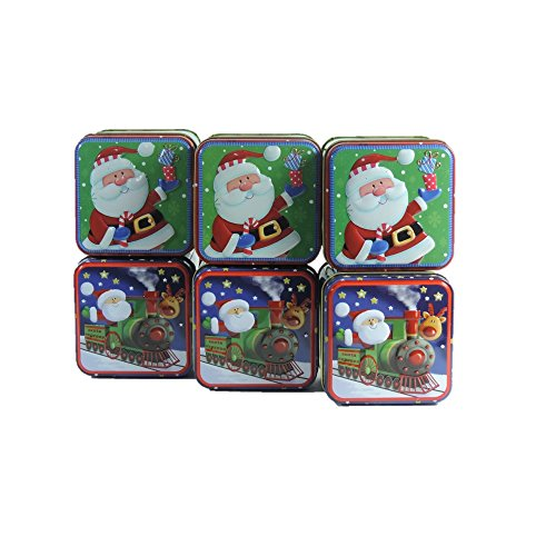 Viva-Haushaltswaren - 6 kleine Keksdosen / Gebäckdosen / Weihnachtsdosen / Geschenkdosen / Metalldosen mit Weihnachtsmotiven