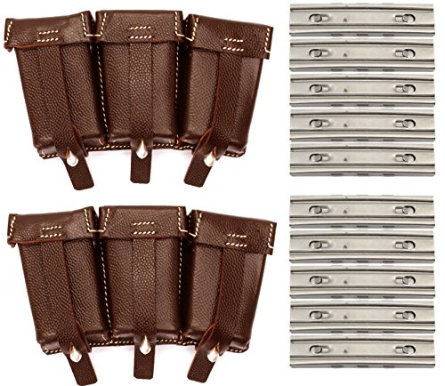 10 Pack 8mm 5 rd Nickel Plated Stripper Clips Mag Loader Mauser Karabiner K98 Yugo M48 M24 Rifle + 2 Pack K98 WWII Reproduction German Leather Ammo Rounds Pouch w/ D-Ring Y-Straps Belt Clip