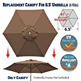 BenefitUSA Replacement Umbrella Canopy Cover for 6.5ft 6 Ribs Patio Market Umbrella (CANOPY ONLY) (Brown)