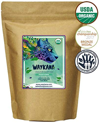 WAYKANA Guayusa Loose Leaf Tea, 1 Pound (16oz) | Balanced & Healthy Energy | Yerba Mate & Coffee Alternative | Boost Energy, Performance & Mental Clarity | Naturally Sweet | Feel the Jaguar Energy!