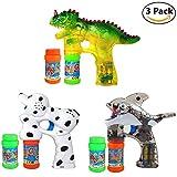 Haktoys 3-Pack Bubble Shooter Gun Bundle | Dinosaur, Dalmatian and Whale Design |