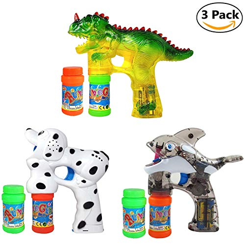 Haktoys 3-Pack Bubble Shooter Gun Bundle | Dinosaur, Dalmatian and Whale Design | Toy Bubble Blaster with LED Light Up Flashing Lights for Toddlers & Kids | Extra Refill Bottles & Batteries Included -