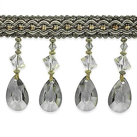 Expo International Mariella Diamond Drop Beaded Trim, 10 yd, Ivory IR7060IV-10