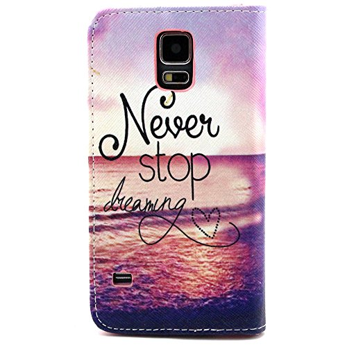 vogue shop Never Stop Dreaming Ultra Slim Case Skin Cover Magnetic Closure Built-in Media Stand for Samsung Galaxy S, 5, Smartphone with one Stylish Pen, One Screen Touch Pen