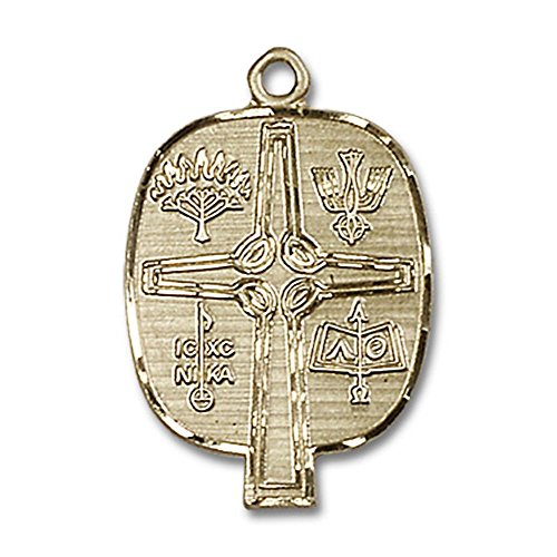 14kt Yellow Gold Presbyterian Medal 1 x 5/8 inches by Bonyak Jewelry Saint Medal Collection