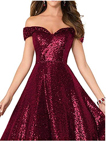 Formaldresses Off Shoulder Sequins Prom Dresses Long for Women Formal  Evening Dress Plus Size Red Black Rose Gold (2, Burgundy)