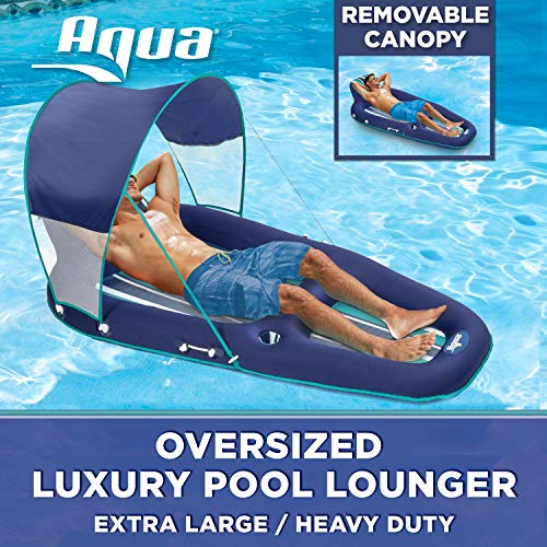 Aqua Oversized Deluxe Lounge, Heavy Duty, X-Large, Inflatable Pool Float with UPF 50 Sunshade Canopy, Navy/Aqua/White Stripe