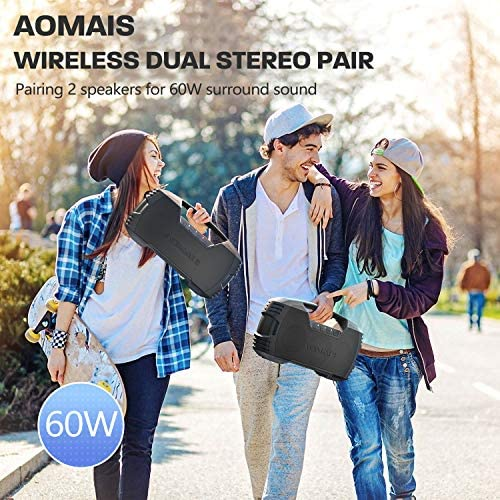 AOMAIS GO Bluetooth Speakers, 40H Playtime Outdoor Portable Speaker, 40W Stereo Sound Rich Bass, IPX7 Waterproof Bluetooth 5.0 Wireless Pairing,10000mAh Power Bank, for Party, Travel(2020 Upgrade) 51t9pBdTsPL