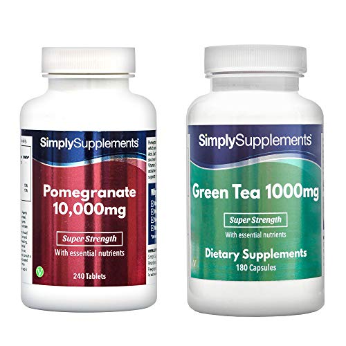Pomegranate 10000mg 240 Tablets + Green Tea Extract 1000mg 360 Capsules | for a Healthy Cardiovascular System | 100% Money Back Guarantee | Manufactured in The UK