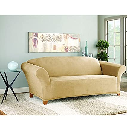 Charmant Sure Fit Stretch Suede Bench Cushion Two Piece Sofa Slipcover