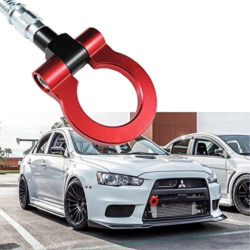 Xotic Tech JDM Sports Red Track Racing Style CNC Aluminum Tow Hook For Mitsubishi 2008-2016 Lancer Evolution Evo X 10
