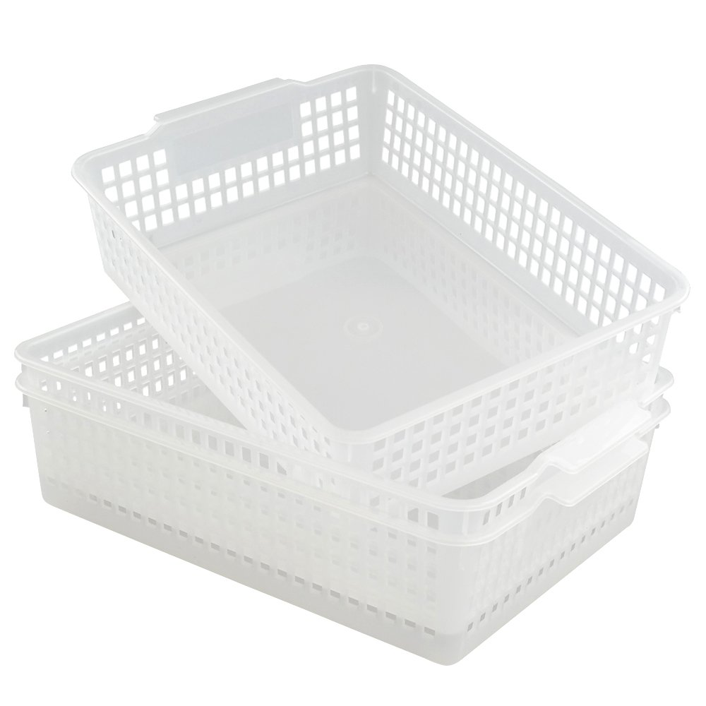 Qsbon A4 Paper Storage Baskets File Trays Baskets, Pack for 3