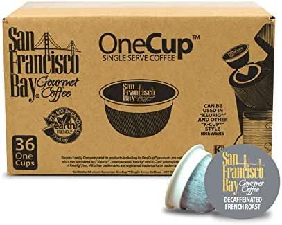 San Francisco Bay OneCup, Decaf French Roast, 36 Count- Single Serve Coffee, Compatible with Keurig K-cup Brewers