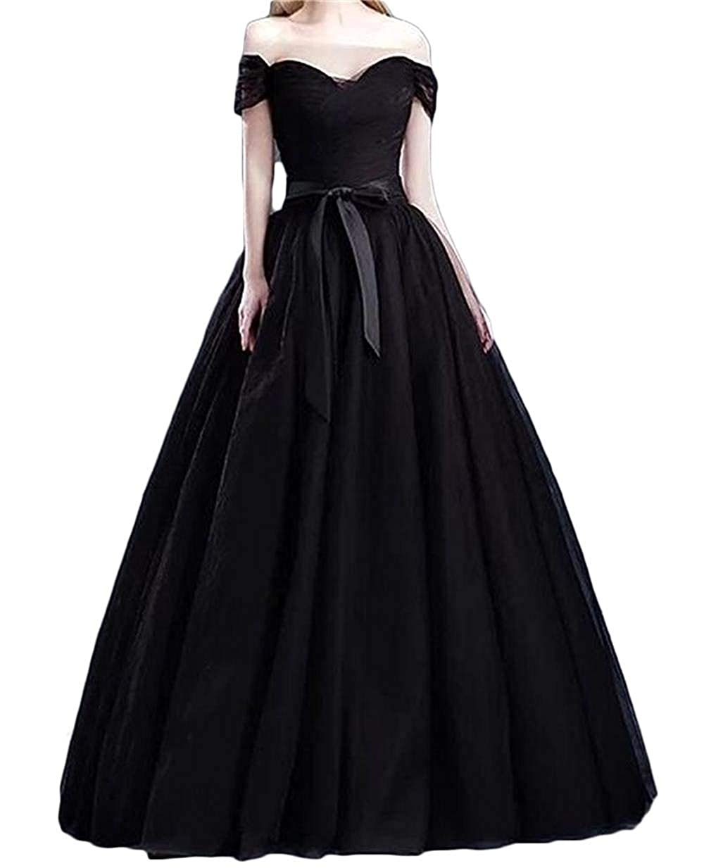 Black XKYU Women's Off The Shoulder Prom Evening Party Dresses Tulle Long Formal Ball Gowns