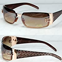 New DG Womens Fashion Designer Sunglasses Shades Rectangular Wrap Gold Brown
