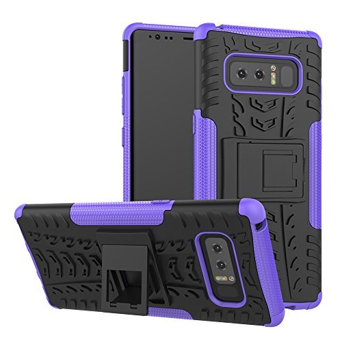 Galaxy Note 8 Case, GPROVA Hard Silicone Rubber Hybrid Armor Shockproof Protective Case For Samsung galaxy Note 8 (Black+Purple) (Samsung Galaxy Note 4 Speck Case)