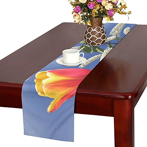 QYUESHANG Nature Plant Flower Exotic Blossom Bloom Blue Table Runner, Kitchen Dining Table Runner 16 X 72 Inch For Dinner Parties, Events, Decor ()