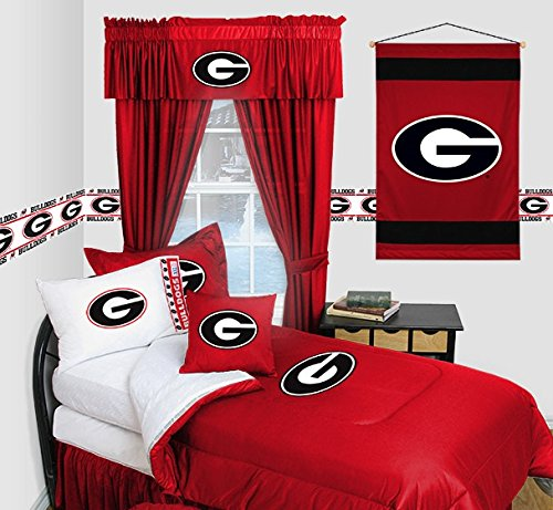 Georgia Bulldogs - Locker Room - 4 Pc FULL Comforter Set and One Matching Window Valance (1 Comforter, 2 Shams, 1 Bedskirt, 1 Matching Window Valance) SAVE BIG ON BUNDLING!
