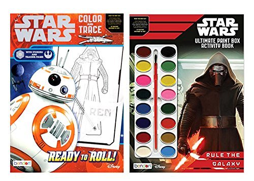 Set of 2 Star Wars Ultimate Paint Box & Color and Trace Activity Book ''Rule The Galaxy'' 92 Total Pages W/34 Stickers and 16 Water Color Paints