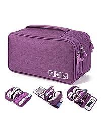 PUBAMALL Organizador de cajones Ropa de viaje Bolsa de acabado - Ropa interior Bolsas de almacenamiento de sujetadores, para ropa interior, sostenes, calcetines, pañuelos (púrpura)