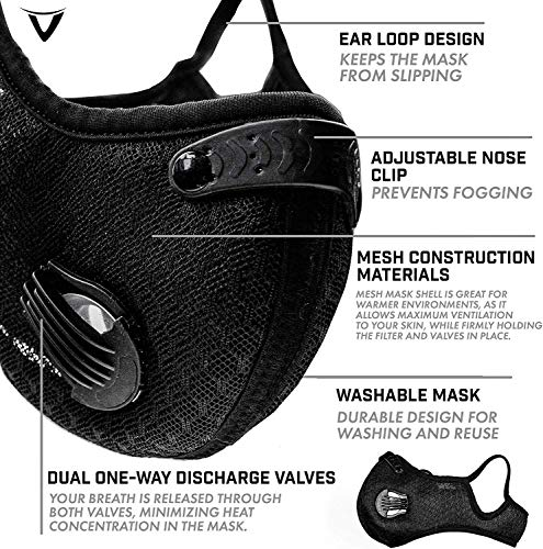 Iriscoco Reusable Dust Face Mask with Filters Dust Masks Outdoor Sport Mask Reusable Activated Carbon Dustproof Mask Respirator Activated Anti Cold Sports Face Mask Filters for Running Cycling
