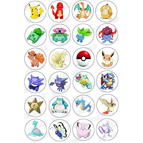 GEORLD 48 x Edible Cupcake Toppers Pokemon Party Collection Edible Cake Decorations, Uncut Edible Prints on 2 Wafer Sheet