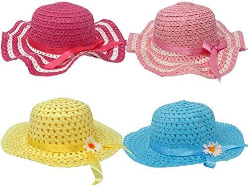 4 Pack Girls Tea Party Hats Assortment Easter Sunhat Bonnet For Little  Children   Kids Costume Dress Up 8007466b6421