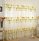 Aside Bside Sheer Curtains Lounge Style Rod Pocket Top Cartoon Sunflower Knitting Transparent Window Decoration Child Room Houseroom Sitting Room (1 Panel, W 50 x L 63 inch, Yellow)