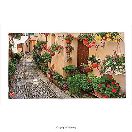 Custom printed Throw Blanket with Tuscan Decor Collection Tuscan House with Rustic Wooden Door and Flowers Image Living Kids Girls Room Dorm Accessories Yellow Pink Red Green Salmon Super soft - House York Of Pizza