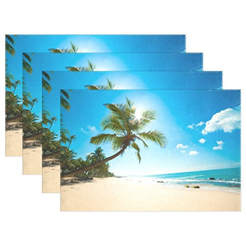 QQMARKET Placemats Set of 6,Tropical Beach with Palm Trees beside the Ocean Kitchen Table Mats 12×18 inch for Dining Room