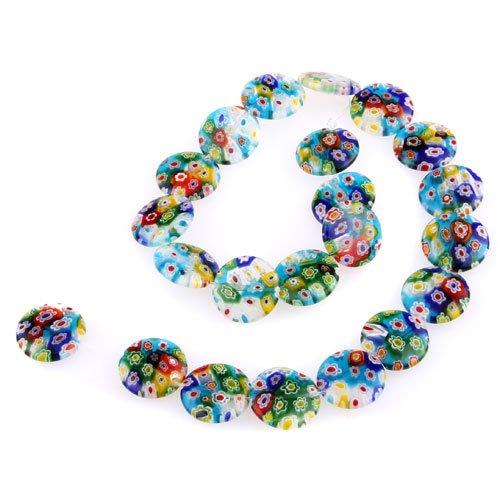 8 opinioni per Perle Perline in vetro murano millefiori a colori 18mm