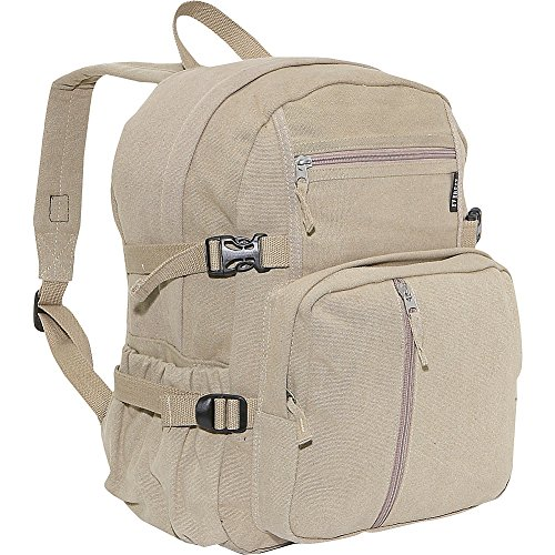 Everest Luggage Canvas Backpack Khaki, Khaki, One Size