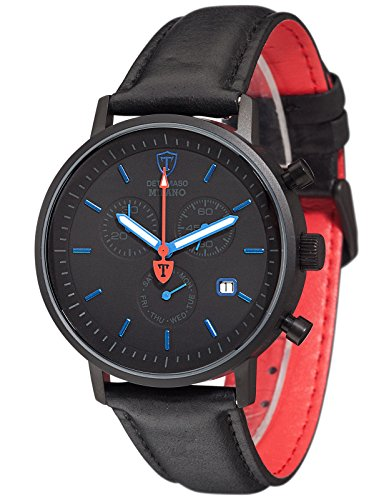 DETOMASO Milano Men's Wrist Watch Chronograph Stainless Steel Black Blue Leather Strap
